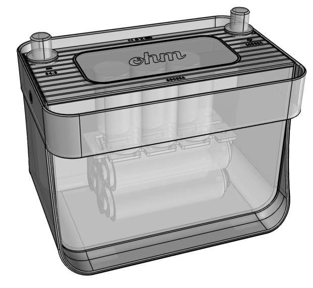 The Ohm contains supercapacitors and LiFePO4 batteries in a standard-size case