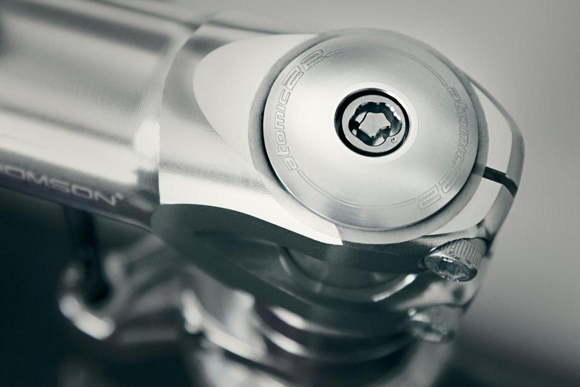 The infiniti3D system replaces the existing fasteners on bicycle components (such as the mounting bolt on this stem), to keep them from being removed by thieves