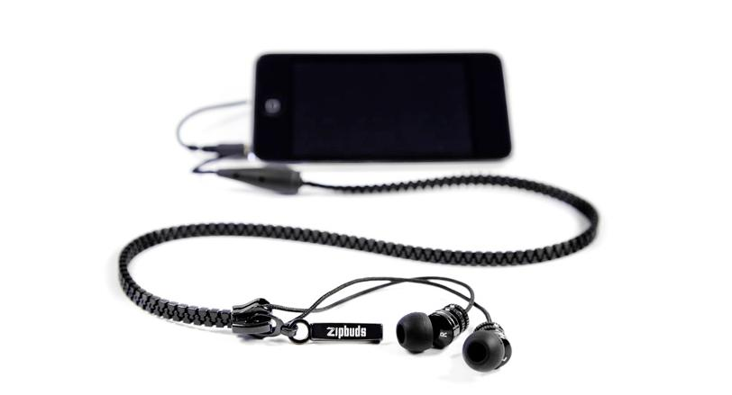 "Zipbuds feature a ""vertebrae"" zipper design that reduces weight and bulk and resists tangling"