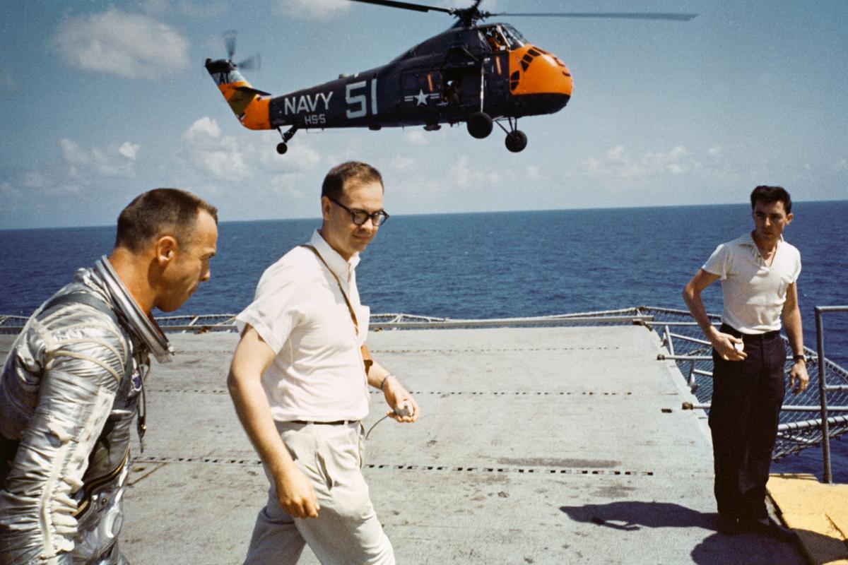 Alan Shepard headed for debriefing after his suborbital flight