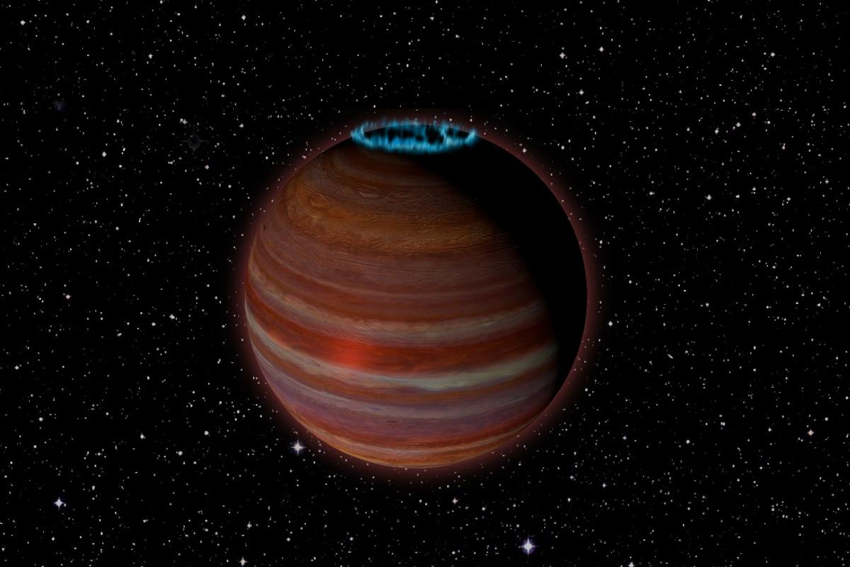 An artist's rendition of SIMP J01365663+0933473, a massiverogue planet with a surprisingly strong magnetic field