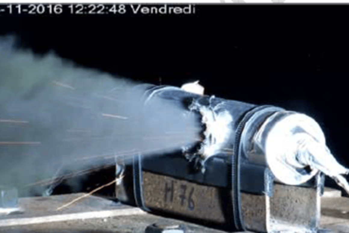 Micrometeoroid battery impact test conducted by ESA