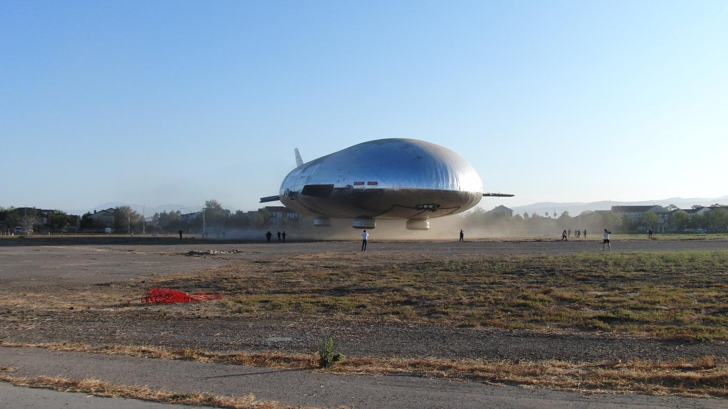 The airship hovers near the ground during tethered flight testing on Saturday, September 7, 2013 (Photo: Aeros)