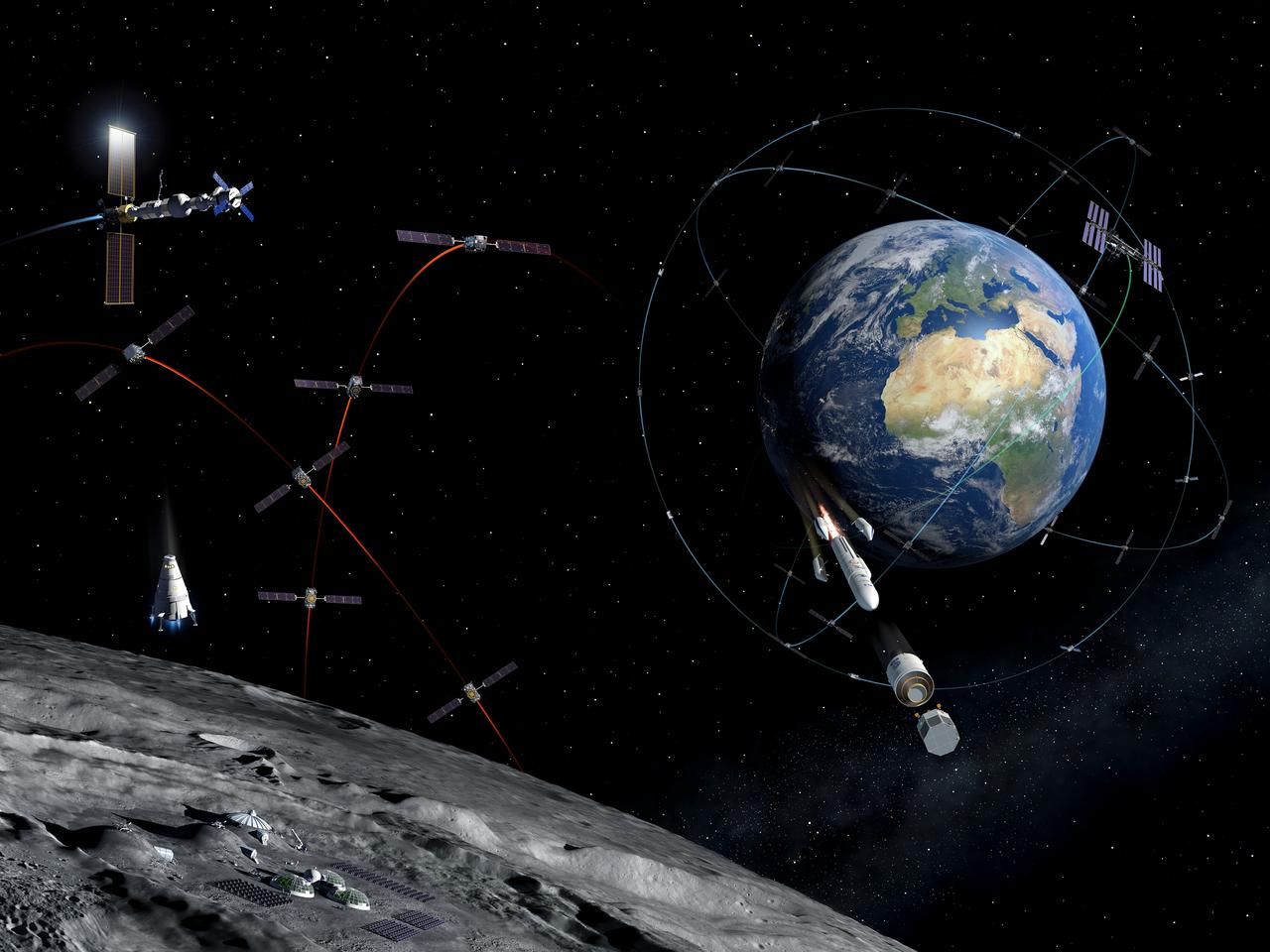 Illustration of a future lunar communications/navigation lunar system