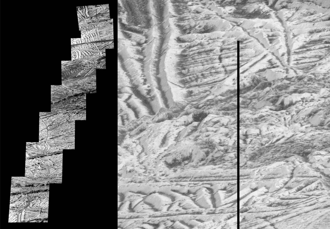 Mosaic of detailed images of Europa sent back by NASA's Galileo mission