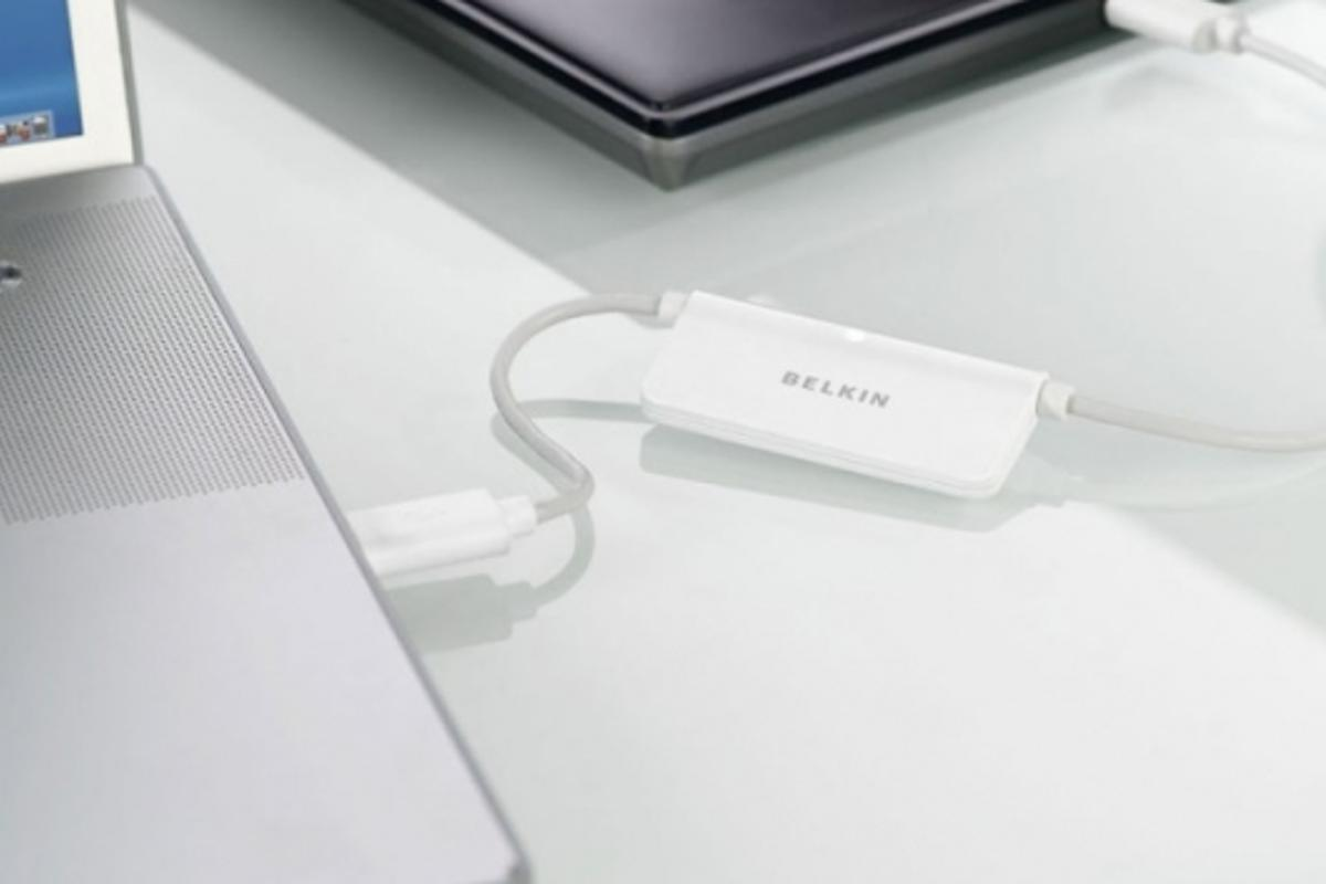 The Belkin Switch-to-Mac Cable connects via USB.