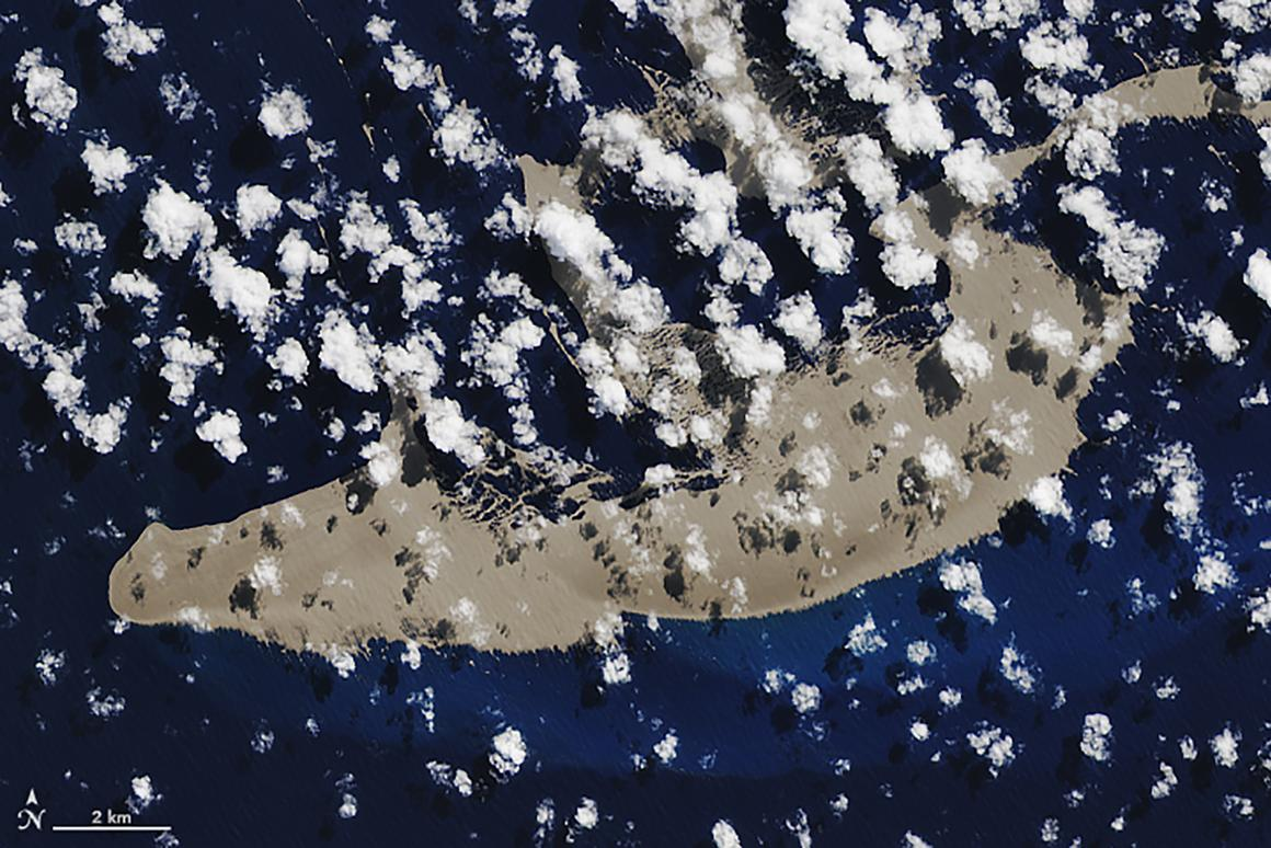 A NASA satellite photo of the pumice raft