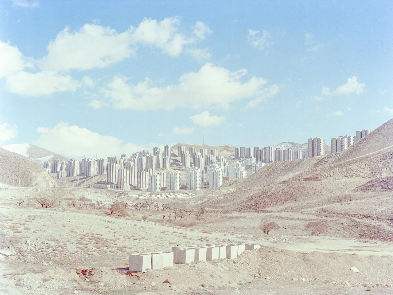 A view of                             half-constructed buildings in the new town                             of Pardis. Pardis is located 17 km northeast                             of Tehran province, Iran