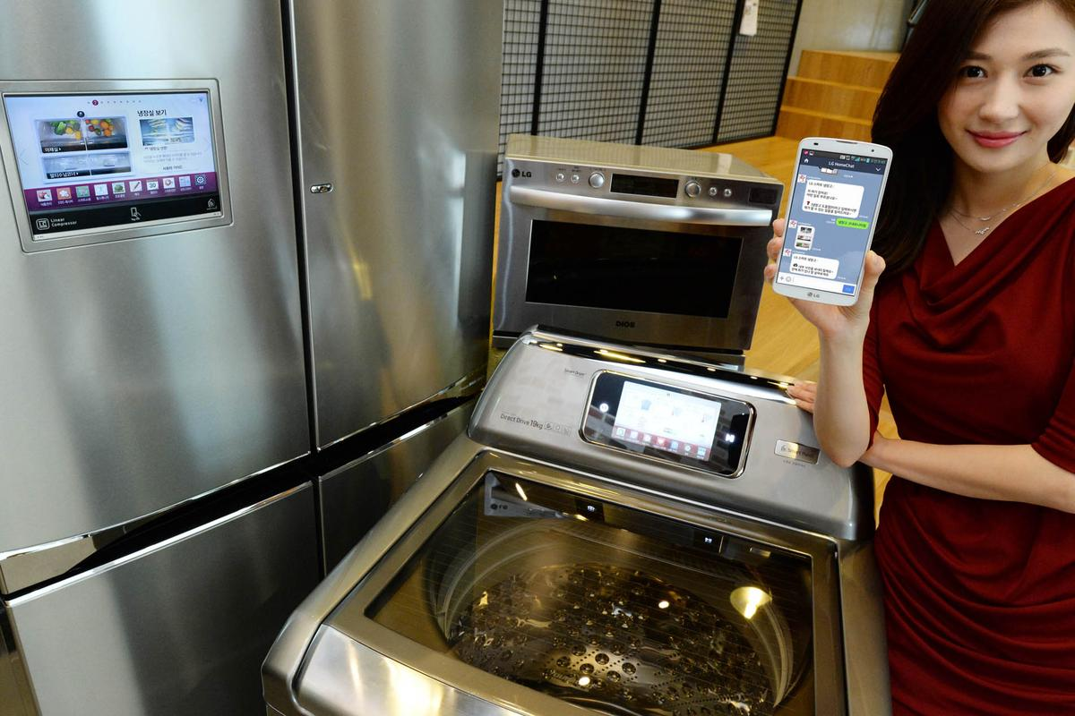 LG's HomeChat service allows users to send messages to control and monitor their appliances