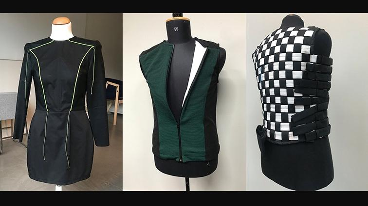 Some of the SUITCEYES prototypes, including the most-recently-created checkerboard vest