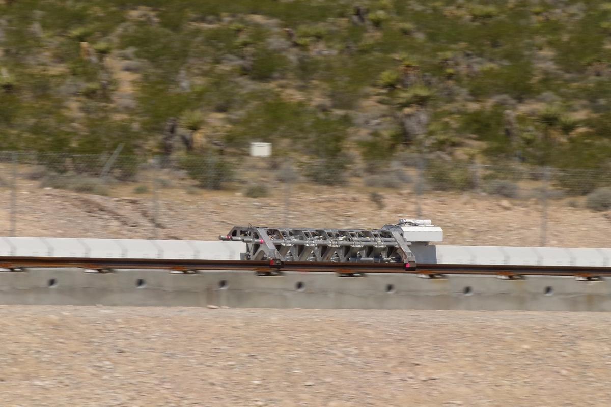 The Sandshark test sled nearing maximum acceleration