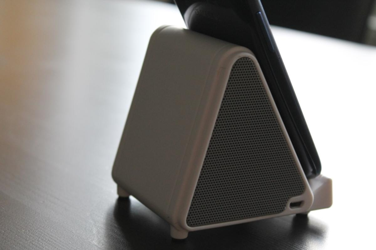 The Favi Audio+ is a wireless speaker that automatically amplifies any smartphone