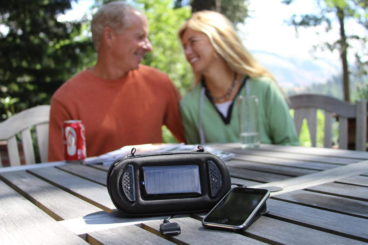 SolLight has announced a portable charger that marries a lightweight carry pouch, a solar charger and some stereo speakers into something called the SoliCharger-SP