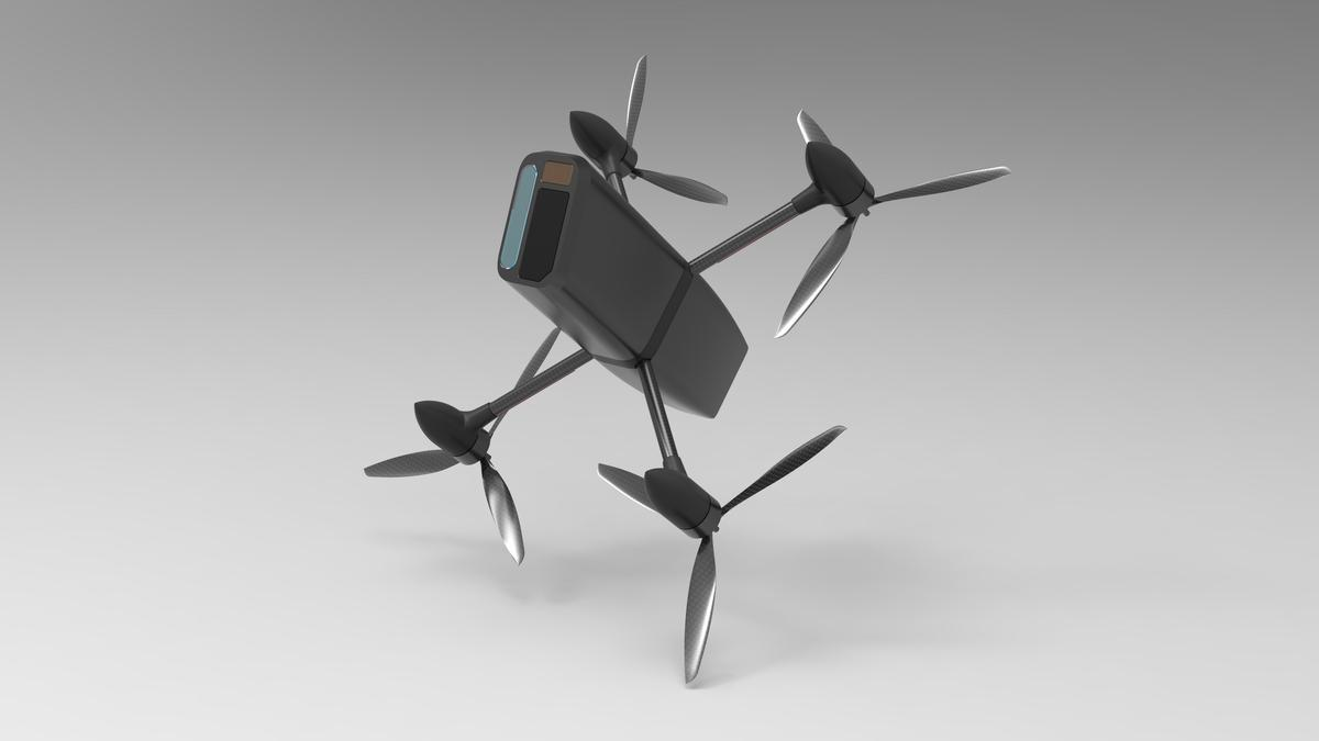 The Interceptor drone is designed to neutralize threats from other drones by smashing them out of the air