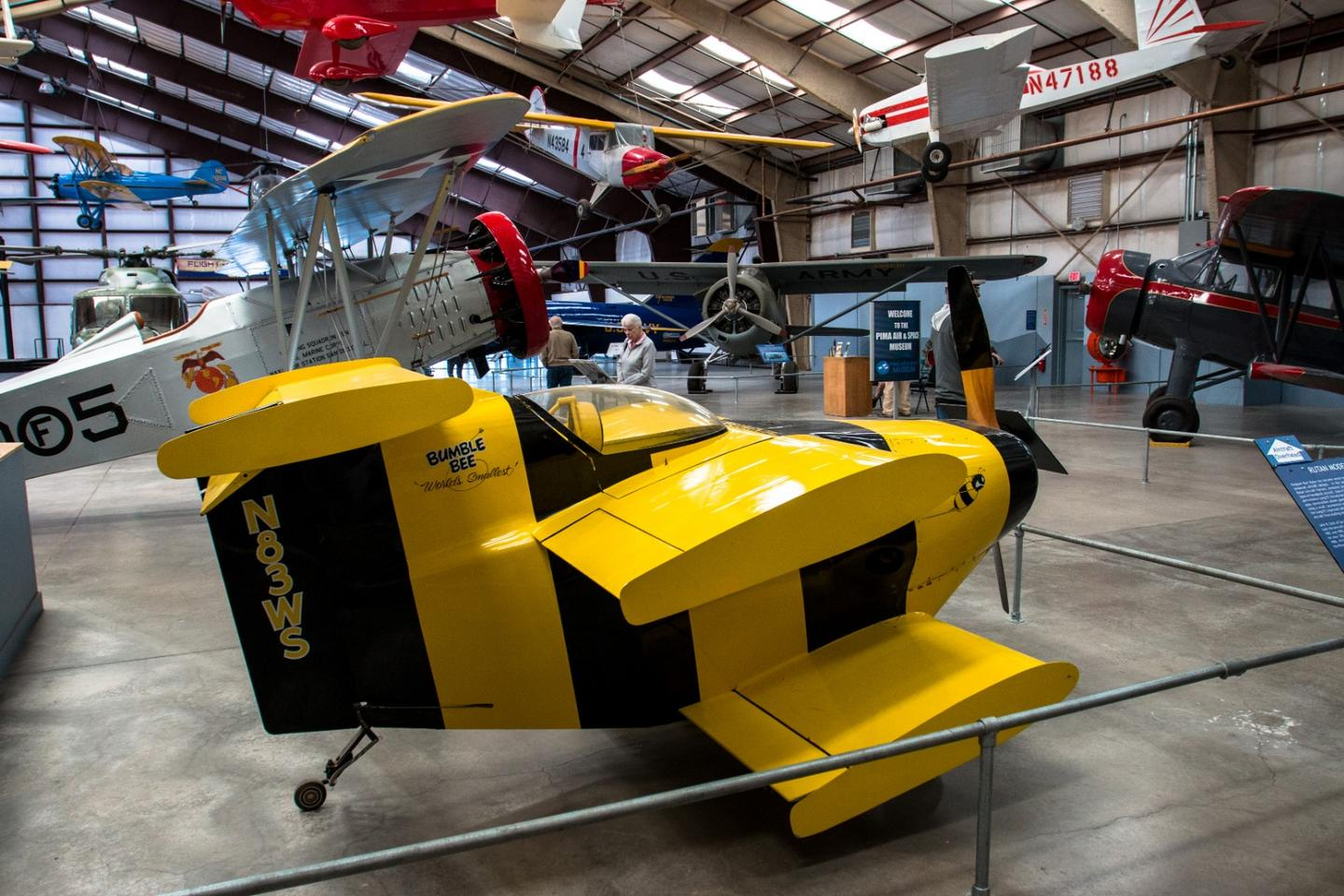 The adorable Starr Bumble Bee was built to take a crack at the record for the world's smallest manned aircraft, with a 6'6 wingspan, a 9'4 length and a height of just 4'1. It took the Guinness record when it made its first flights in January 1984, and was capable of speeds up to 180 mph - but could only fly to a service ceiling of 3,000 ft due to its tiny wings.