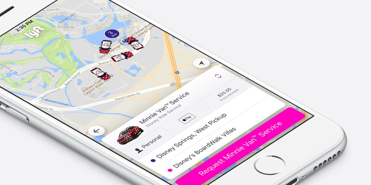 Visitors as select Disney Parks can hail one of Lyft's Minnie Vans through its smartphone app
