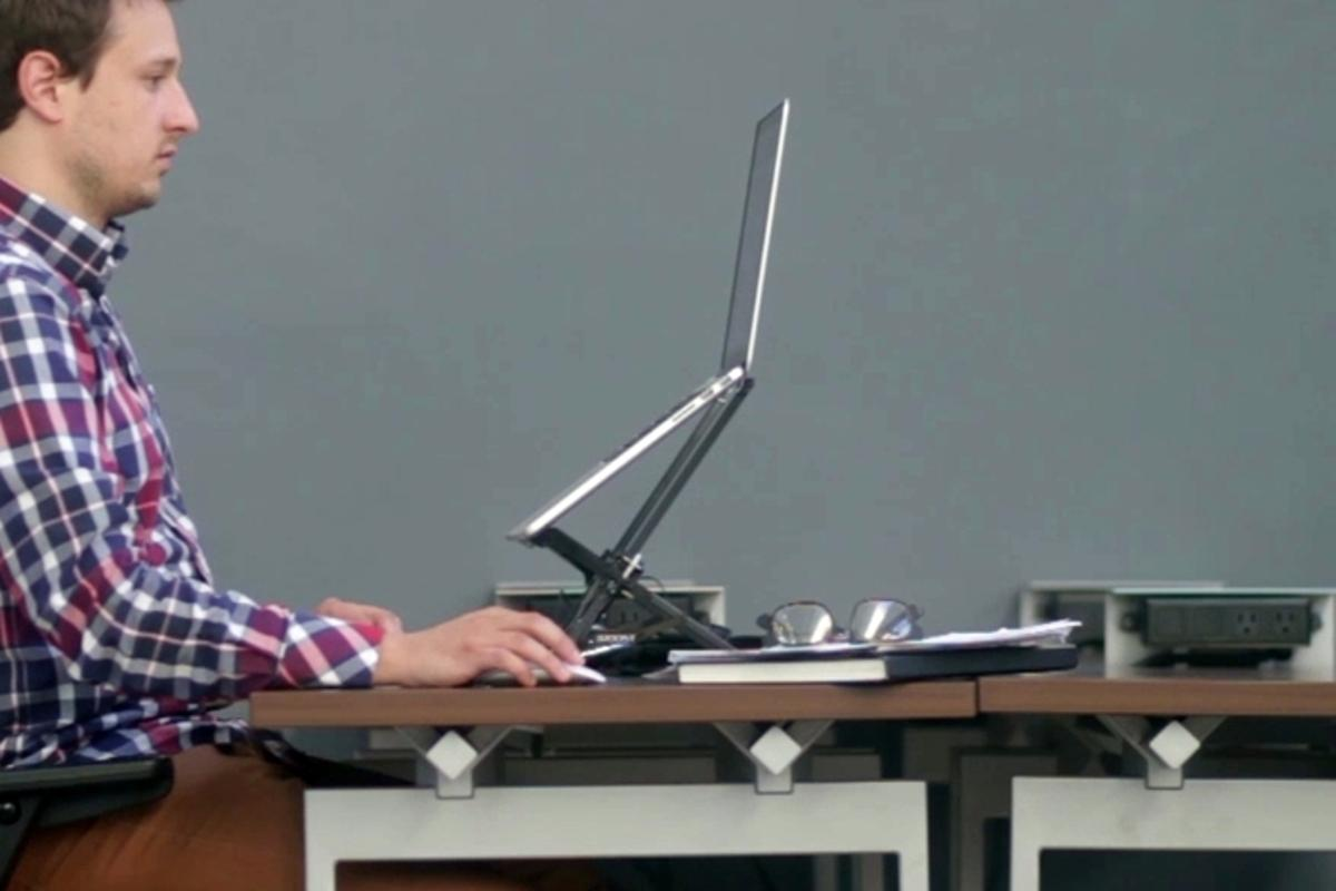 When fully extended, The Roost lifts the top of a 13-inch MacBook Air screen to 19.25 inches (48.9 cm) above the table