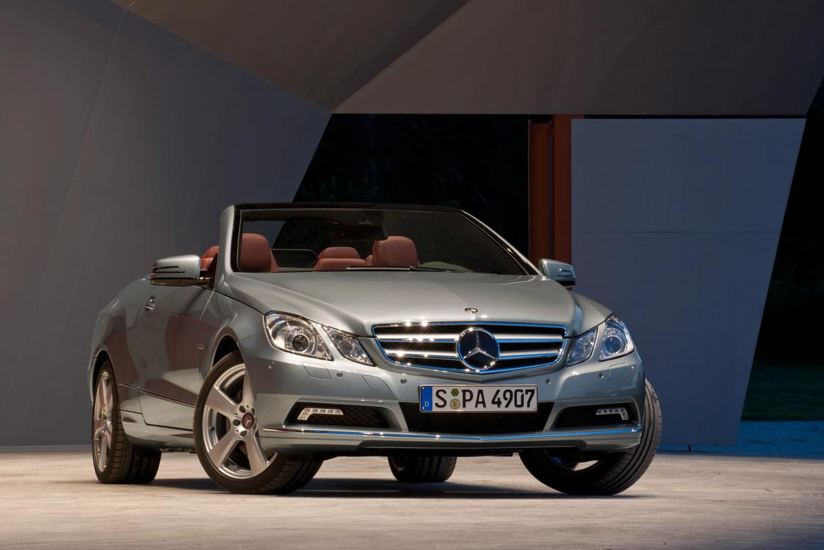 The Mercedes-Benz 2011MY E-Class Cabriolet, on display at the Detroit Auto Show