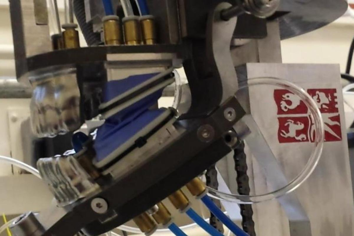The jaws of the humanoid chewing robot, ready to chomp some gum