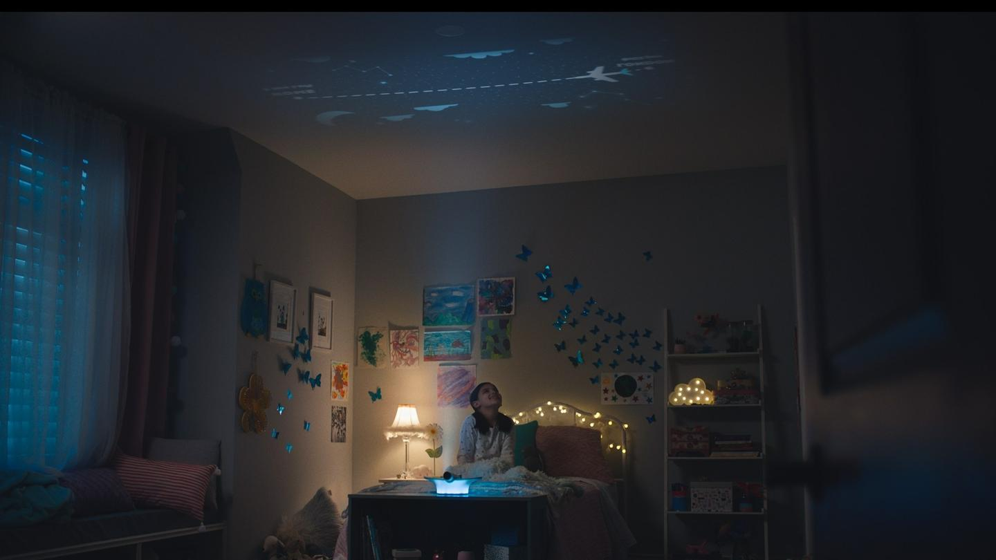 The WestJet Flight Light projects a continuously-updated flight map onto a child's bedroom ceiling