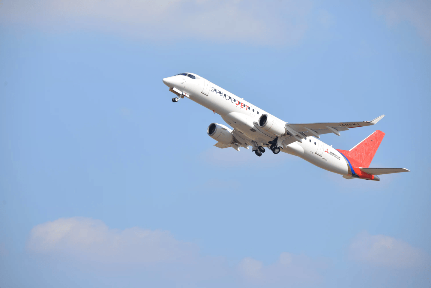 The Mitsubishi SpaceJet MR90 FTV10 heads off on its maiden flight
