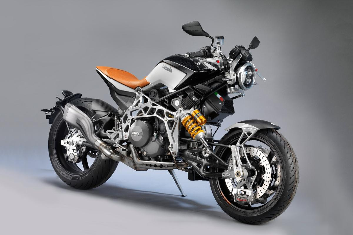 This Bimota TESI RC hub-steered cafe racer is a steampunk cosplayer's dream