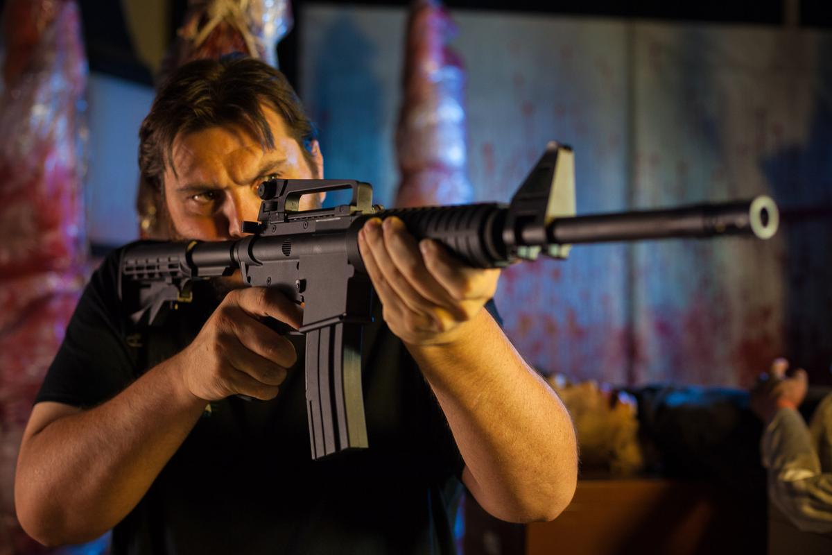 Drew Hobbs with the MK.II replica Colt rifle