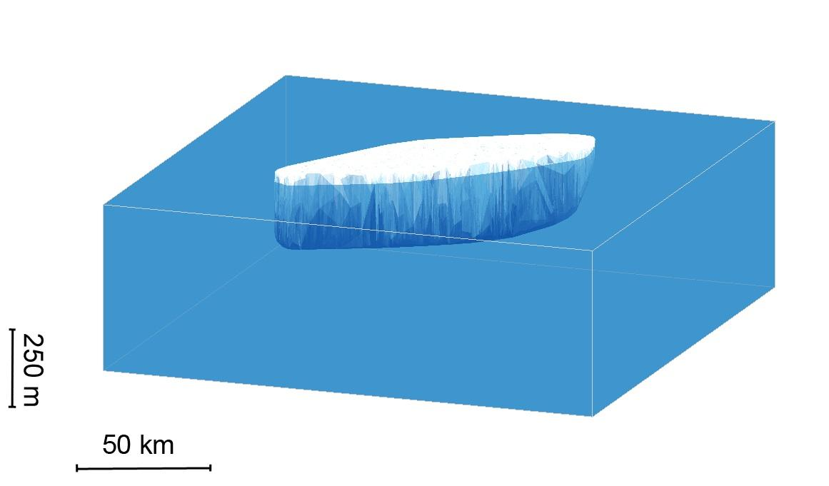 A computer-generated image of the Larsen C iceberg