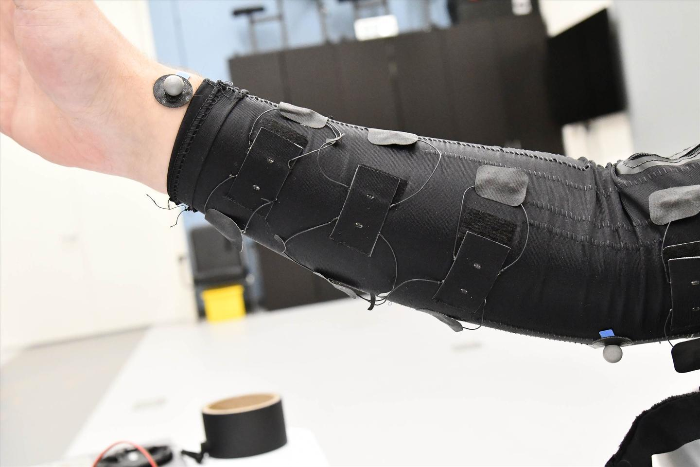 Pictured here incorporated into a sleeve, the sensor could find use in applications such as virtual reality simulations, sportswear, and clinical diagnostics