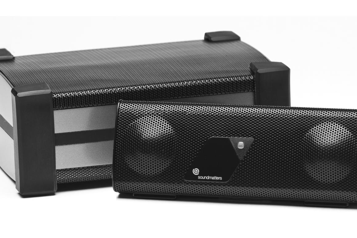 The foxLO subwoofer (rear) adds some low frequency oomph to the foxL portable speaker (front)
