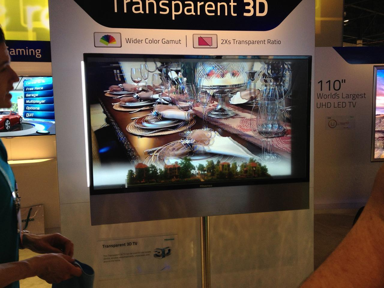 The Hisense transparent 3D TV – the model trees at the bottom of the screen are actually located behind it