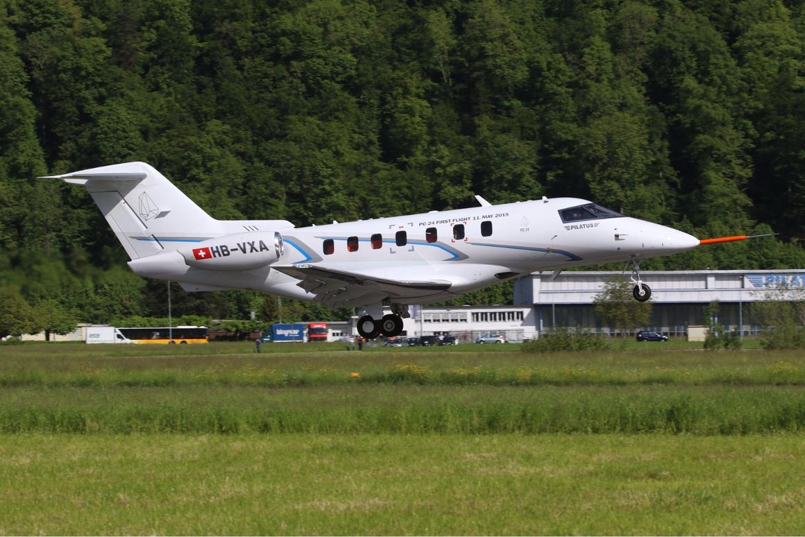 The Pilatus PC-24 taking off on its maiden flight