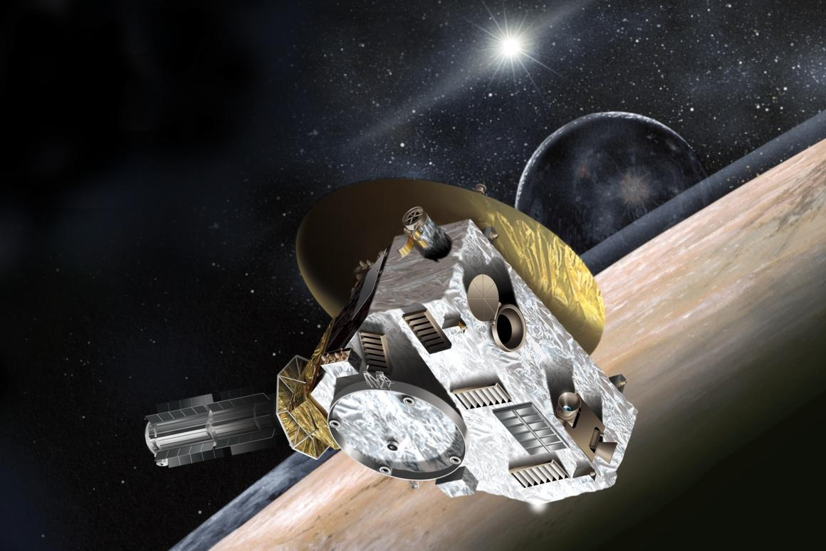 Artist's impression of New Horizons passing Pluto (Image: NASA)