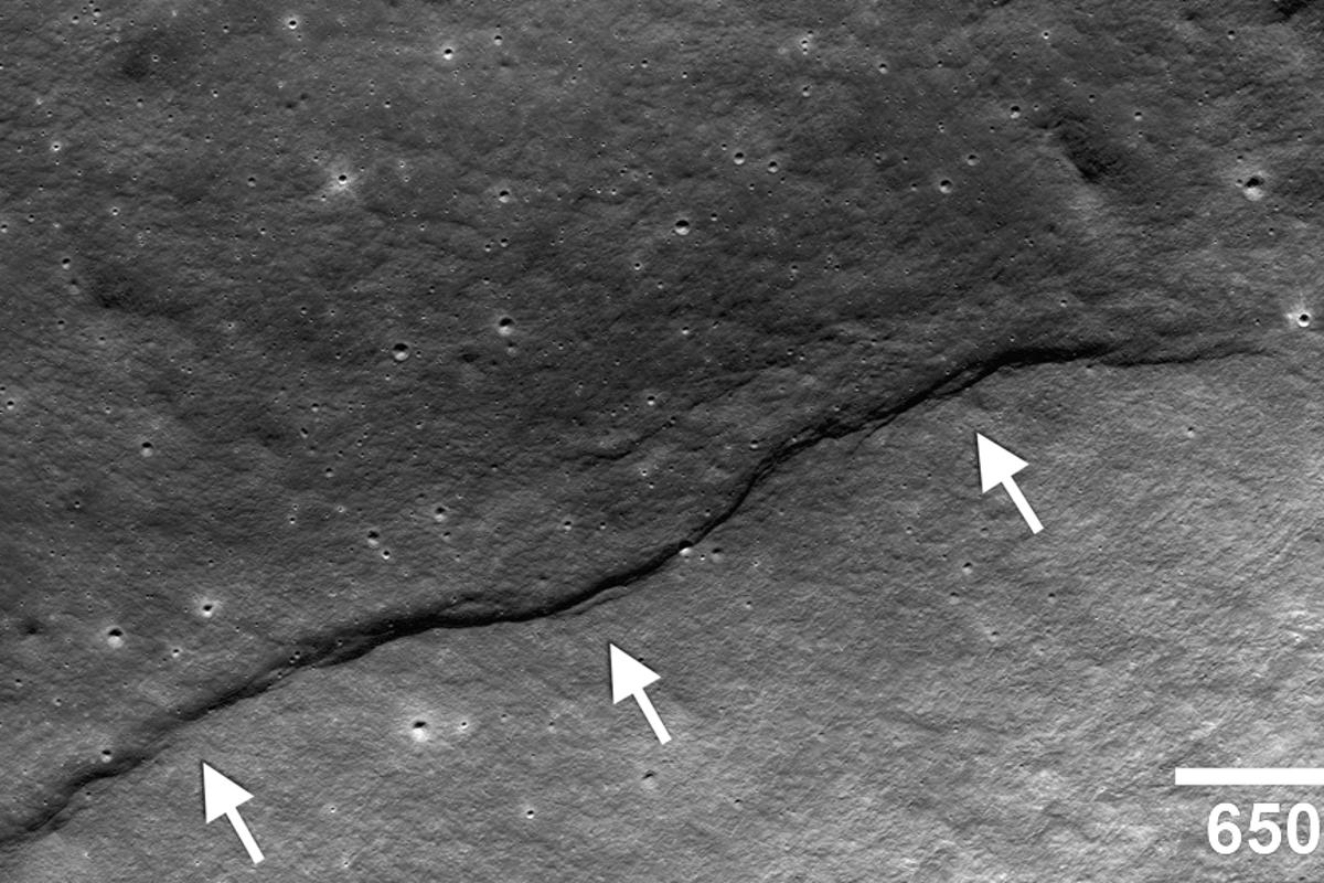 Image showing a thrust fault having pushed crustal materials (arrows) up the side of the farside impact crater named Gregory (Image: NASA/Goddard/Arizona State University/Smithsonian)