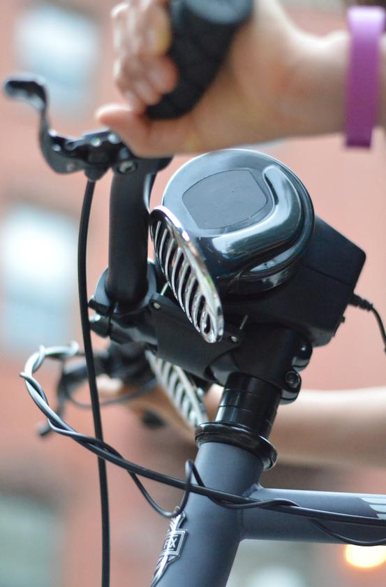 """The Loud Bicycle Horn is water-resistant, is attached using theft-resistant security bolts, and should provide about two months of """"average"""" use per charge of its battery"""