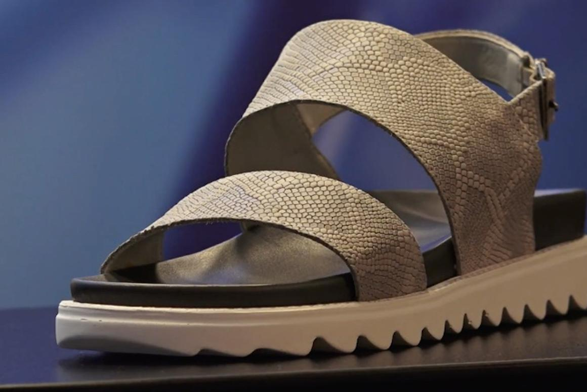 A prototype Freshoes sandal on display in Milan