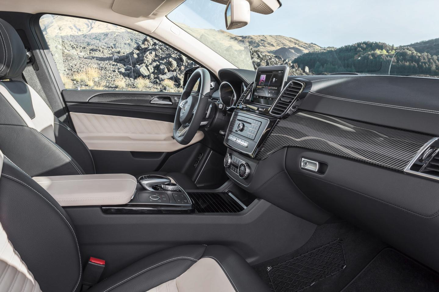 Inside, the GLE Coupe features the same COMAND screen that appears in all other recent Mercedes cars