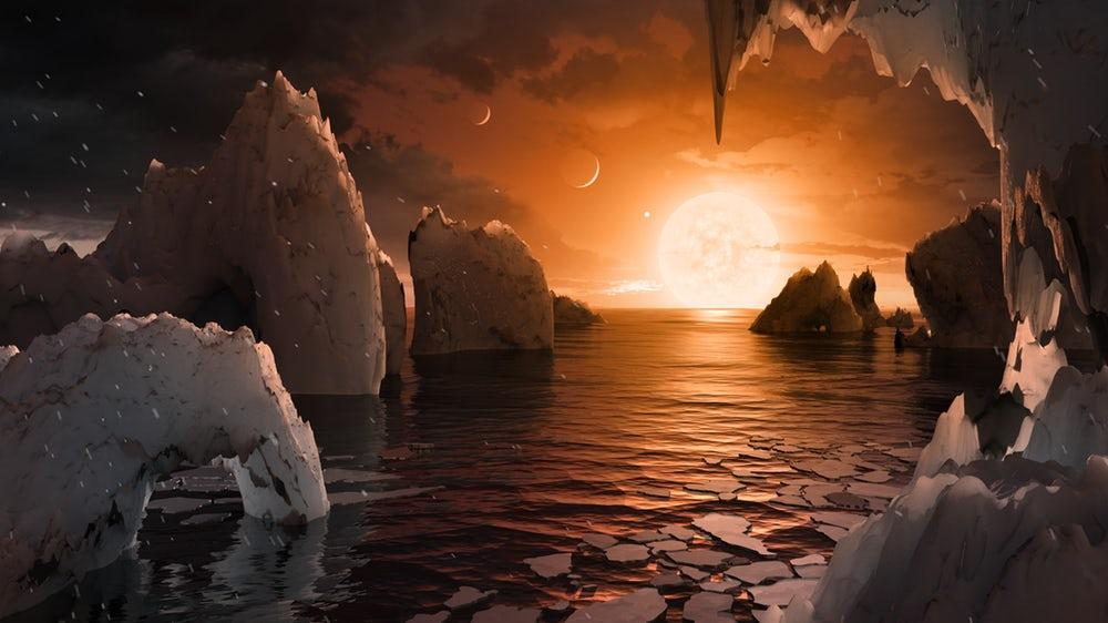 An artist's rendition of the surface of one of the TRAPPIST-1 planets