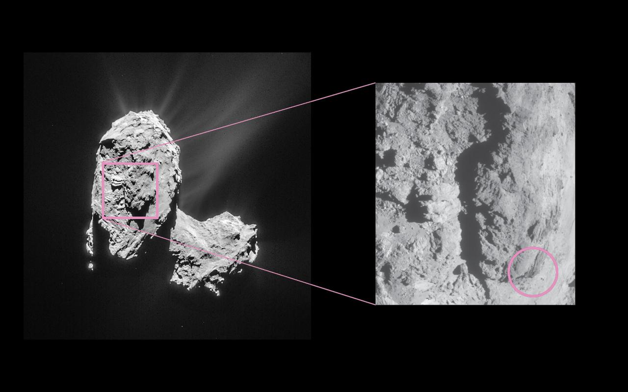 Image of 67P with the source of the outburst highlighted in the relief