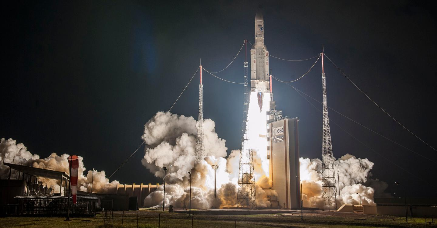 An Ariane 5 rocket captured during a 2020 launch