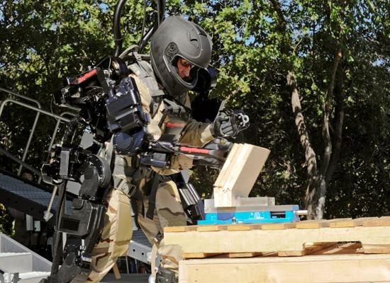 Raytheon's XOS 2 empowers its user to punch through a block of wood