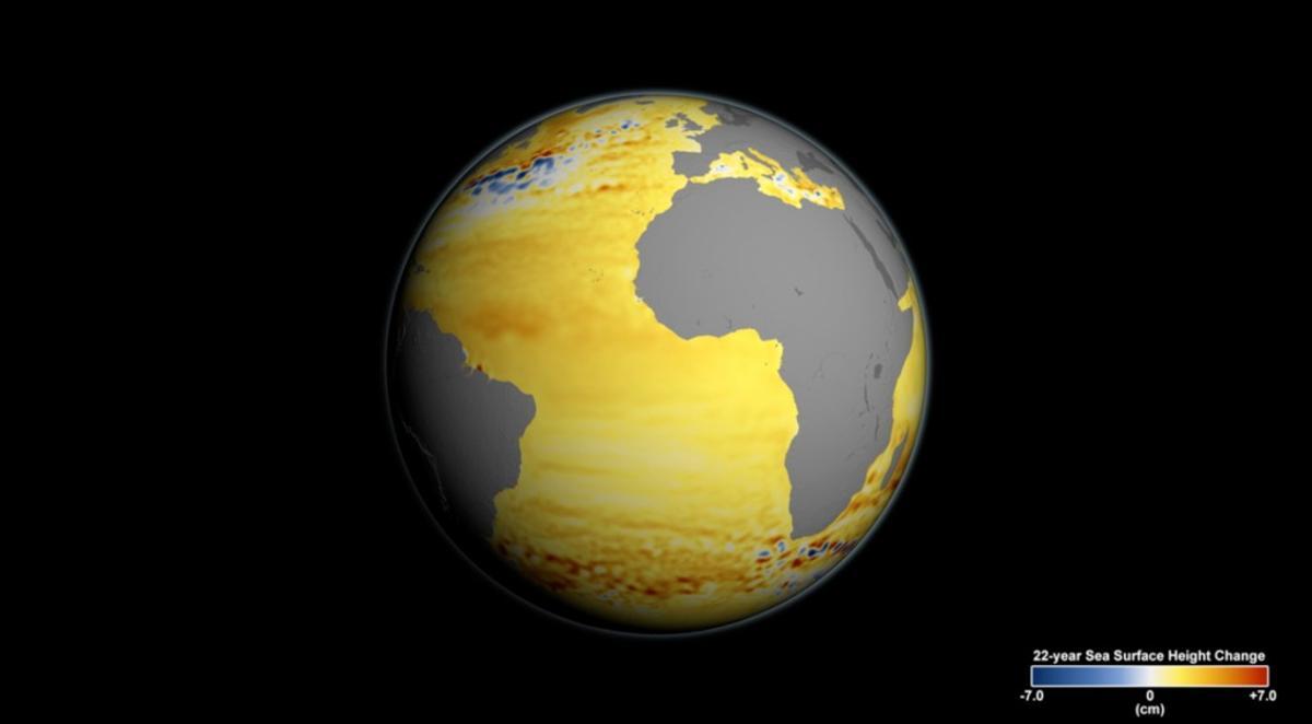 Image showing sea level rise based on satellite data