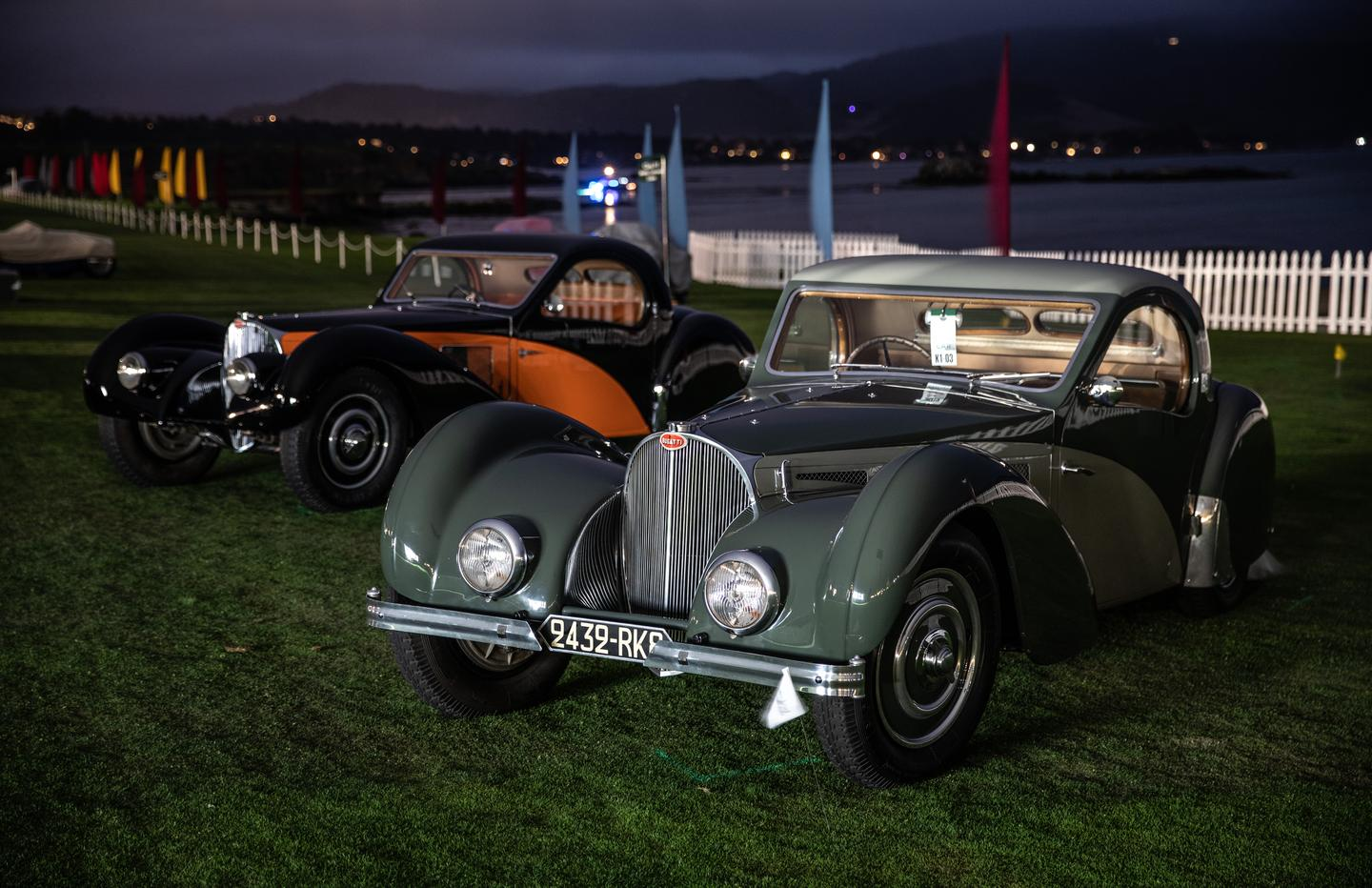 Dawn at the Pebble Beach Concours d'Elegance saw this pair of Bugatti Type 57SC Atalantes together awaiting the festivities of the day. At right is the winner of the K-1 Class for Bugattis, a 1937 model from a private New York Collection, while at left is a 1936 model owned by Rob and Melanie Walton of Scottsdale Arizona.
