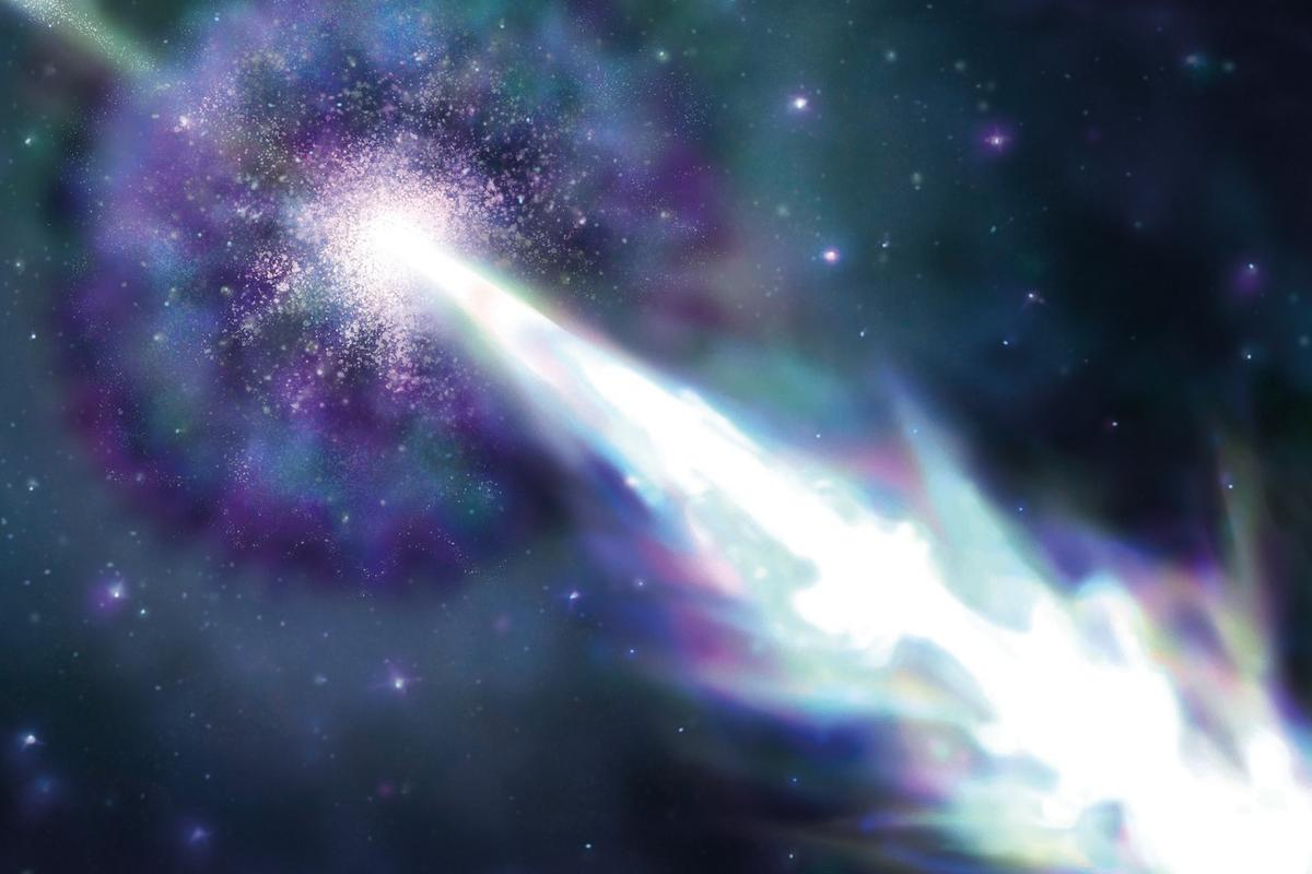 An artist's impression of GRB190114C, the most energetic gamma ray burst ever detected with the energy of 1 TeV