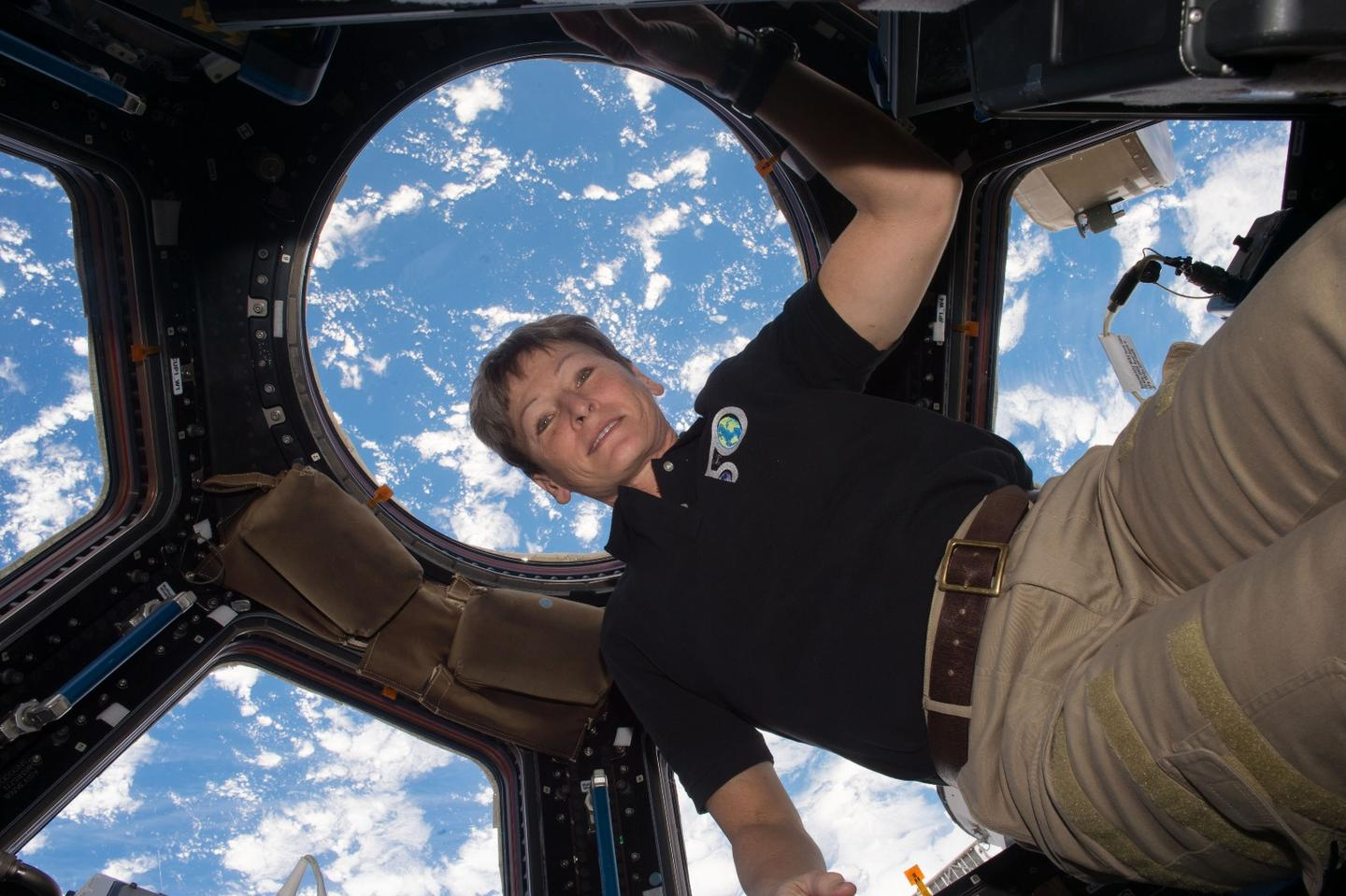 U.S. astronaut Peggy Whitson imaged in the Cupola Observational Module of the International Space Station