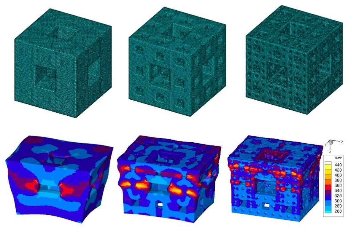 Simulated images show how the cubes with more intricate fractal void patterns dissipate shock waves more effectively