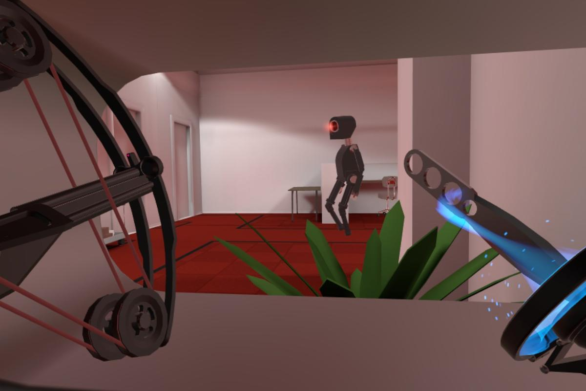 Creeping up on an evil robot in indie SteamVR title Budget Cuts