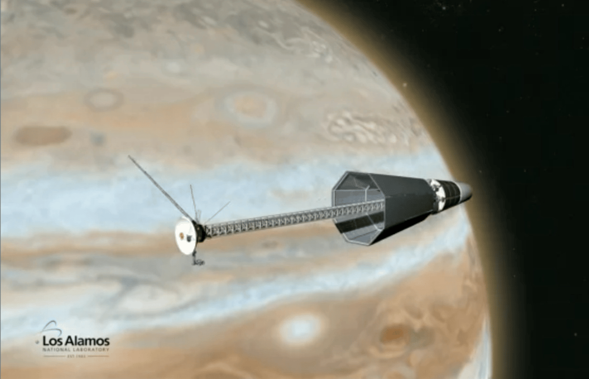 Artists concept of spacecraft using the Los Alamos reactor