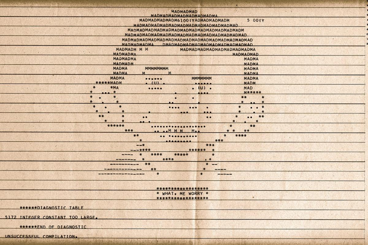 Mad magazine's Alfred E. Neuman is an early example of ASCII art from 1960 produced using a dot-matrix computer