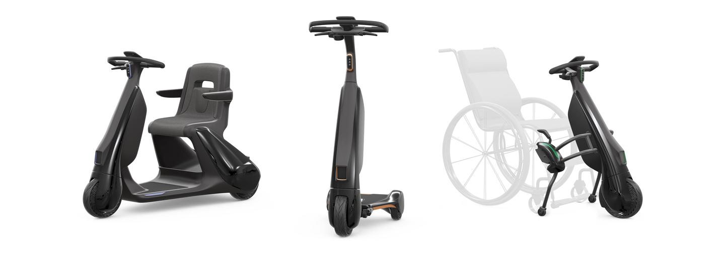 """Toyota has also released plans for several """"walking area"""" last-mile electric scooters, including one that clips onto a wheelchair"""
